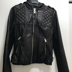 MK leather hooded jacket